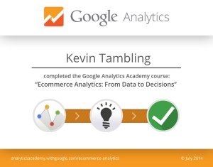 """Ecommerce Analytics: From Data to Decisions"" course certificate"